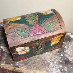 Small Etched Wood Jewelry Box